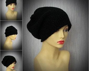 Knitted hats for men Men's Slouchy Beanie, Men's Knitted Hat, Mens Slouchy Beanie, Slouchy Hat, Hand Knit Hat for Men Slate Black