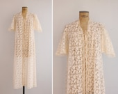 1970s Lace Robe - Vintage 70s Cream Lace Lingerie Robe - Ange Lingerie Robe