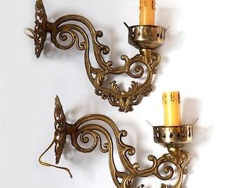 SALE Vintage Italian Wall Sconces, Brass Wall Sconces ,Pair of vintage Wall Light Sconces,brass wall lamps