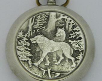 USSR Russian Pocket watch Molnija Molnia Wolves #602S