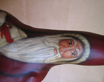 "10"" Red Painted Wood Cypress Knee Santa Claus for Christmas  ***NEW***ONE of a KIND"