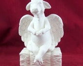 Holy Cow! Ready to paint ceramic bisque sitting cow angel alone or with hay stack or rock - Bisque- 8 inches high