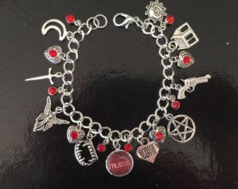 True Blood Light Charm Bracelet, Sookie, Bill, Vampire, Blood, Fangs, Eric