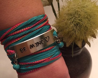 Valetines Day - Be Mine - Silk Wrap Bracelet - Gift For Her - Gift For Wife - Gifts For Girlfriend - Wrap Bracelet - I Love You