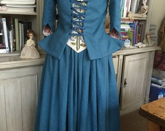 CUSTOM ORDERS 18th Century Jacket Skirt Stomacher Ensemble Outlander Romantic Historic Colonial Costume Theater Scottish Wedding Renaissance