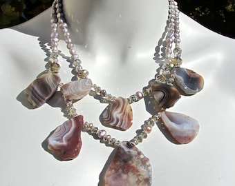 Big Bold Chunky Bib Statement Necklace, Botswana Agate, Freshwater Pearls, Crystal, Double Strand 1007