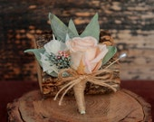 Pale Pink, Sage and Cream Wedding Boutonniere, Cream and Pale Pink Grooms Boutonniere, Dried Flower Boutonniere, Rose Boutonniere