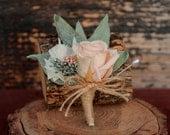 Pale Pink, Sage and Cream Wedding Boutonniere, Cream and Pale Pink Grooms Boutonniere, Dried Flower Boutonniere, Rose Boutonniere
