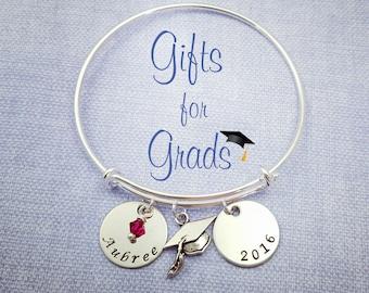 Graduation Bracelet, Graduation Gift, For Her, Handstamped Bracelet, Graduation Jewelry, Grad Gift, Gifts for Grads, Graduation