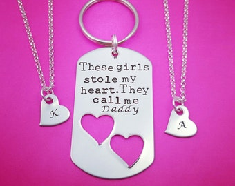 These Girls Stole My Heart They Call Me Daddy, Keychain and Necklaces Set, Two Daughters, Daddy Daughter Gift, Fathers Day, Daddy's Girls