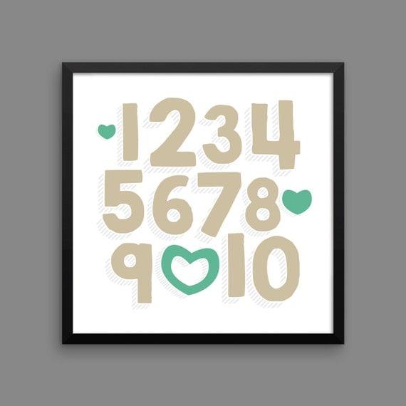 I LOVE YOU (Venetian & Mermaid) Framed Number Poster Print - Nursery, Kids Room, Wall Art Modern