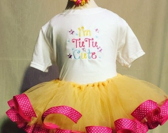 Tutu cute ribbon edge tutu with embroidered shirt and matching hair clip birthday outfit