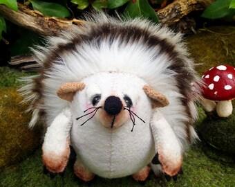 "Hedgehog art doll, felt hedgehog, OOAK artist bear, ""Bobby"", forest friends theme, forest animal, felt toy, hedgehog art, hedgehog plush"