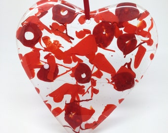 """Large Fused Glass Hearts 8"""""""