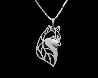 Siberian husky head - sterling silver pendant and necklace.