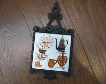 Vintage Rossini Wrought Iron & Tile Trivet/Hot Plate