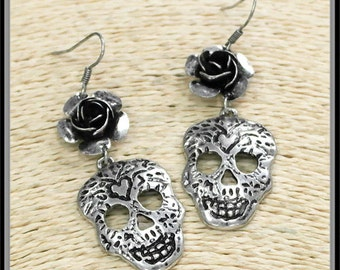 Sugar Skull Rose Dangle Earrings, Day of the Dead