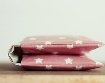 Windeltasche/ Diaper bag aus Wachstuch - Rosa mit Sternen - Wickeltasche