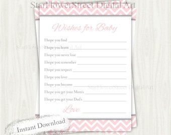Blush Wishes for Baby Girl light pink peach gray grey cards chevron printable digital instant download dear baby shower decoration advice