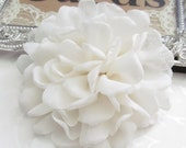 "Ivory Fabric Flower / Hair Flower NO CLIPS / Rose Fabric Flower / Chiffon Flower 4""   FLW-06"