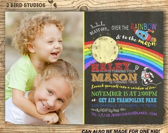Sibling birthday invitation - Rainbow & Outer space party invitation  -  Space rocket and art party invite for twins - Chalkboard you print