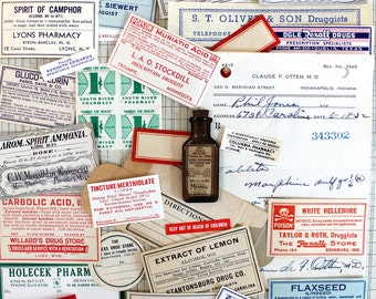 Vintage Apothecary Labels*RX Labels*Halloween Supplies*Halloween Inspiration Kit