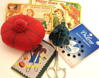 Vintage Sewing Supplies Lot of 7, Pin Cushions, Scissors, Snaps, Lovely Graphic Needle Holders Craft Supply