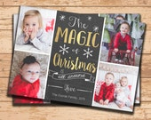 Photo Christmas Card. Holiday Card. Picture Holiday Card. Printable Card. Personalized Christmas Card. 4 Photos. Family Holiday Card. PDF.