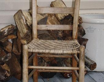 Vintage Antique Primitive Woven Cane Seat Ladder Back Oak Chair Rustic Decor Collectible Chic