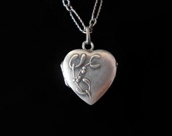 Antique French Silver Heart Locket and Chain