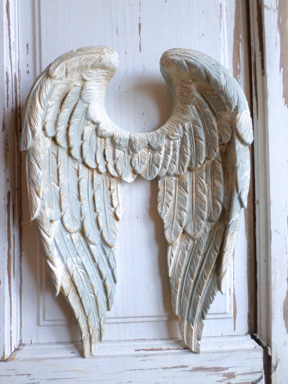 shabby chic angel wings vintage finish wall decor by. Black Bedroom Furniture Sets. Home Design Ideas