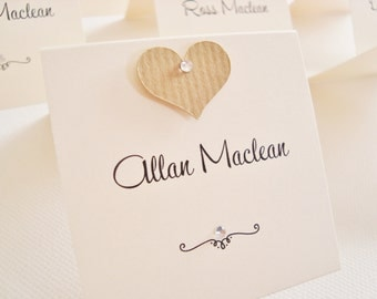 Personalised Handmade Kraft Heart Shabby Chic Wedding Place Cards (Pack of 10)