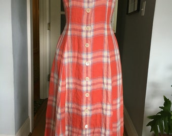 J Peterman plaid sleeveless summer dress