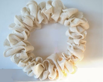 Handmade Burlap Wreath Ivory/ White Jute Burlap Plain Year Round Wreath Rustic Wreath