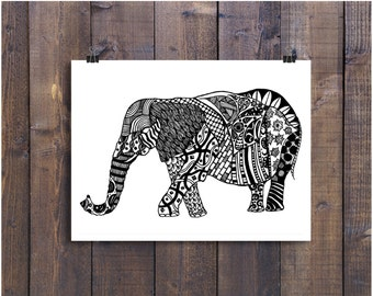 Elephant Art Art Black and White Art Pen and Ink Animals Elephant Signed 8 x 10 Print Home Decor Design Drawing