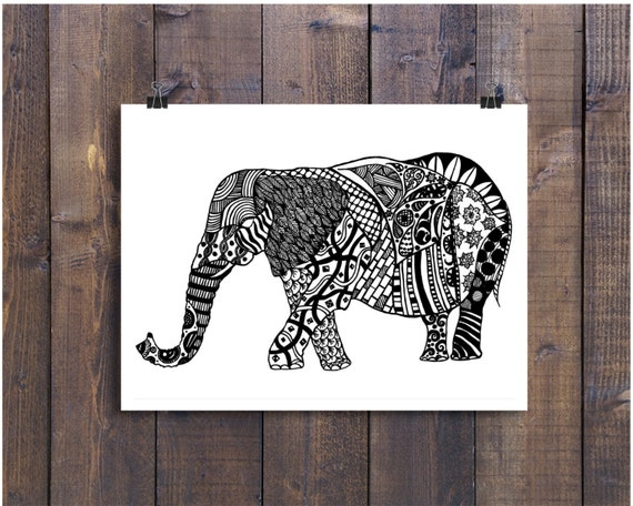 Elephant Art Art Black and White Art Pen and Ink Animals Elephant Signed 5 x 7 Print Home Decor Design Drawing