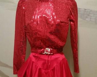 Vtg 3 Piece Dance Costume Leotard Skirt Belt Majorette Circus Mardo Gras Adult Small