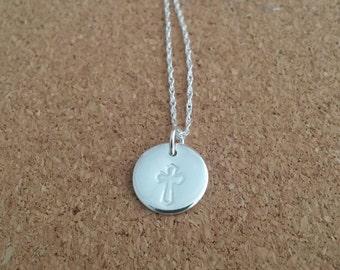 Cross necklace, Christening gift, Communion jewelry, Silver cross, Christian necklace, Cross charm, Religious necklace, Children necklace
