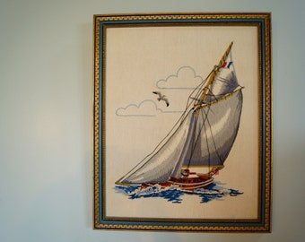 """Framed Crewel Embroidery SAILBOAT Sunset 1978 Vintage Wall Art Beach Cottage 18"""" x 22"""" Sail boat Needlework Yarn"""