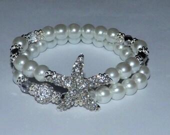 2 Piece Set Pearl Bracelet Bridal Jewelry Rhinestone Starfish Wedding Accessories Bridal Shower Gift