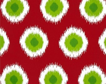 Premier Prints Ikat Domino  Red and Green Dot Home Decor Weight Fabric by the yard - Same Day Shipping