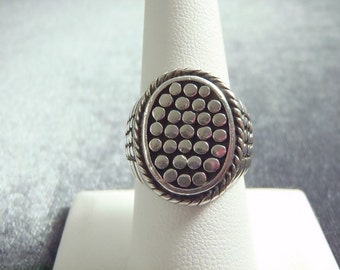 Sterling Silver Oval Dotted Ring Sz 8 R220