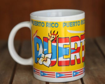 PUERTO RICO Ceramic Cup Tribal Pattern SKull Palm Tree Frog Parrot American Flag Travel Mug