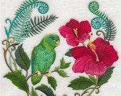 Parrotlet with Hibiscus Embroidered Decorative Absorbent White Cotton Flour Sack Towel, Linen Towel, Waffle Towel, Guest Towel