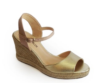 Sale, Wedge sandals gold, Peep toe shoes, Wedge, Gold peep toe heels, Women's sandals, Platform sandals, Shoes for wedding, Leather shoes