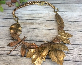 Vintage Hand Made Copper and Pearls Autumn Necklace Nature Leaves Dragon Fly Butterfly