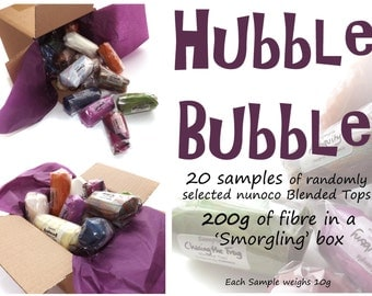 Sample tops - Blended Roving - 20 samples - 200g/7oz fibre - HUBBLE BUBBLE