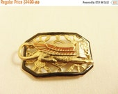 SALE Vintage Brooch Egyptian Sphinx Art Deco Style with Black Enamel Frame in Gold Tone