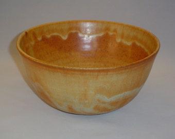 White stoneware mixing bowls with Oregon Gold glaze
