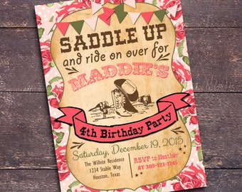 Cowgirl Invitation, Floral Cowgirl Invitation, Shabby Western Party, Printable Cowgirl Invitation, Cowgirl Invite, Girl Western Party